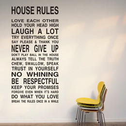 Wholesale Bedroom Quotes - Free Shipping HOUSE RULES -Large Wall Lettering Stickers Quotes and Sayings Home Art Decor Decal