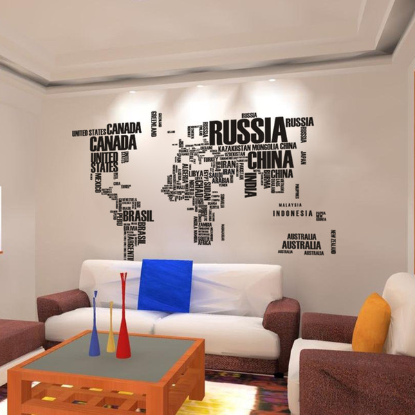 World Map Wall Stickers , Home Art Wall Decor Decals For Living
