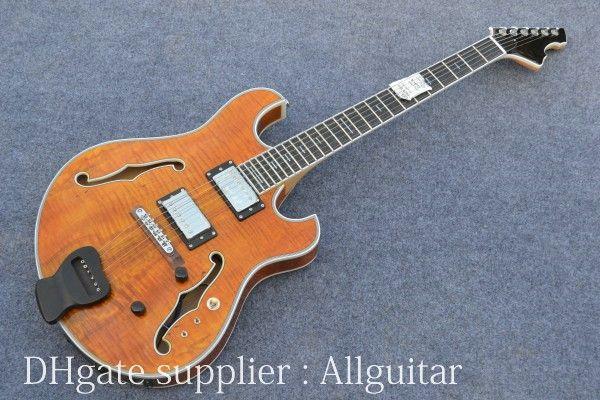 Skräddarsydd ihålig kropp gitarr tiger bästa rosewood gitarr kropp gul färg elektrisk gitarr porslin gitarrer