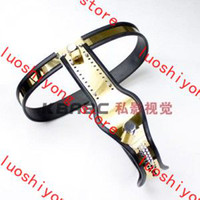 Wholesale Titanium Female Chastity Belt - Old locks Stlye Model-T Titanium Female Adjustable Premium Chastity Belt with One Locking Cover Removable gold color