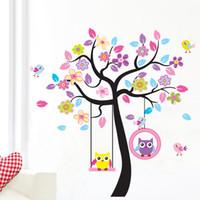 Wholesale Owls Decal - Large Tree and Flowers Wall Stickers, Cute Owls Wall Decor Decals Removable Kids Room Stickers