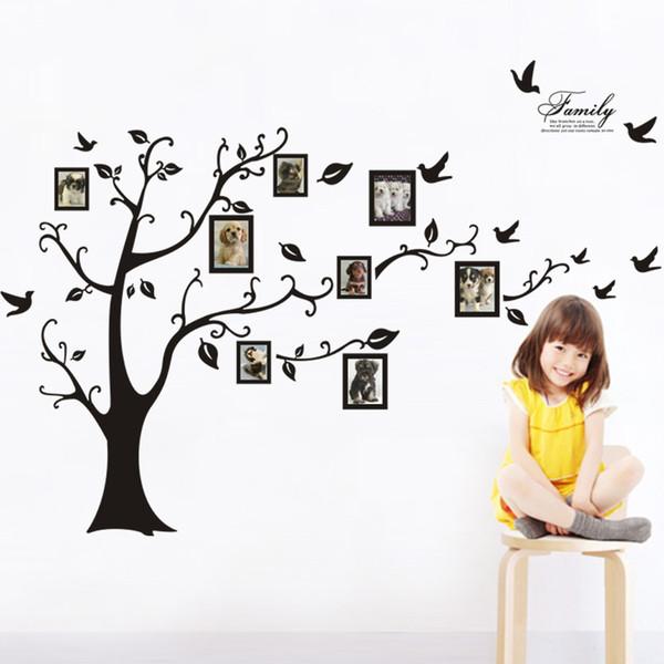 large size black family bilderrahmen baum wand aufkleber diy steuern dekoration wandaufkleber moderne - Deko Baum Wand
