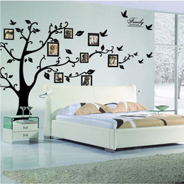 Wholesale tree bedroom - Large Size Black Family Photo Frames Tree Wall Stickers, DIY Home Decoration Wall Decals Modern Art Murals for Living Room
