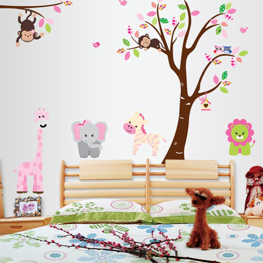 Large Size Monkeys And Owls In The Tree DIY Wall Sticker Home Decor Cartoon Nursery  Wall Decals Stickers Free Shipping Part 93
