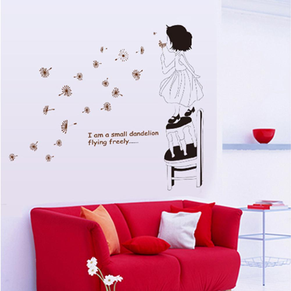 Lovely girl blowing dandelion and inspirational quotes art wall lovely girl blowing dandelion and inspirational quotes art wall stickers and decor decals for kids room quote wall sticker quote wall stickers from flylife amipublicfo Images