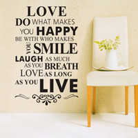 Wholesale Happy Stickers - Free Shipping Love Do What Makes You Happy- Vinyl Art Wall Lettering Sticker, Love Quotes Home Wall Decor Decals For Living Room Decoration