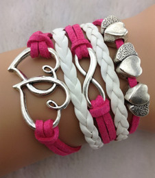 Wholesale Double Heart Cord - Infinity double heart Charm Bracelets in Silver - Mint roseo Wax Cords and Leather Braid 20pcs lot