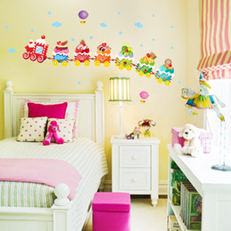 Wholesale Rainbow Wall Stickers Kids - Removable Cartoon Wall Stickers-Colorful Cakes Compose a Train like Rainbow in the Sky for Kids Room, Wall Décor Decal for Nursery Playroom