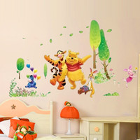 Wholesale Wall Sticker Natural - Winnie the Pooh and Happy Animals in Natural World, Cartoon Wall Decor Stickers Decals for Nursery Kids Room