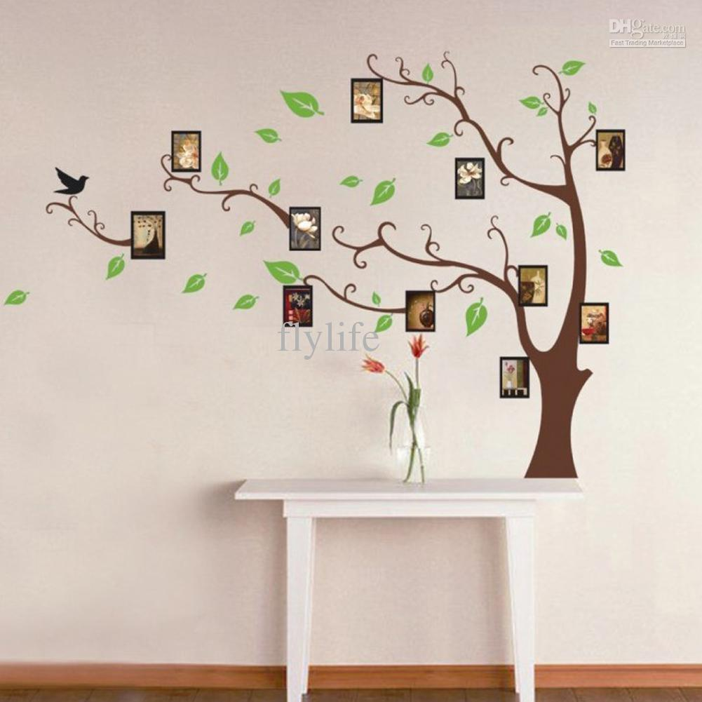 Large Art Photo Frames Tree Wall Decor Stickers Green Leaves On The Tree  Branches, Home Wall Decals Murals For Living Room Bedroom Photo Frame Wall  Decals ...