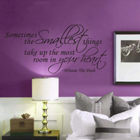 Wholesale Hearts Things - Sometimes the Smallest Things Take Up the Most Room in Your Heart- Room Decor Wall Lettering Stickers Quotes Sayings Vinyl Art Home Decals