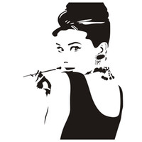 Wholesale Audrey Hepburn Decor - Audrey Hepburn Portrait Vinyl Removable Wall Stickers Home Art Wall Decor Decals for Living Room Bedroom Decoration