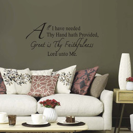 Wholesale Great Wall Decor - Great Is Thy Faithfulness Lord unto Me-Black Vinyl Wall Lettering Stickers Home Art Wall Decor Decals for Living Room for Children Bedroom