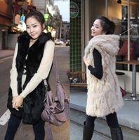 Wholesale Long Faux Fur Gilet - Luxe Faux Fur Hooded Vest Black Apricot Ribbit Fur Gilet Womens Slim Fit Long Jacket Winter Coat CJD0824