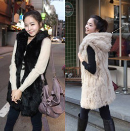 Wholesale Black Fur Gilet - Luxe Faux Fur Hooded Vest Black Apricot Ribbit Fur Gilet Womens Slim Fit Long Jacket Winter Coat CJD0824