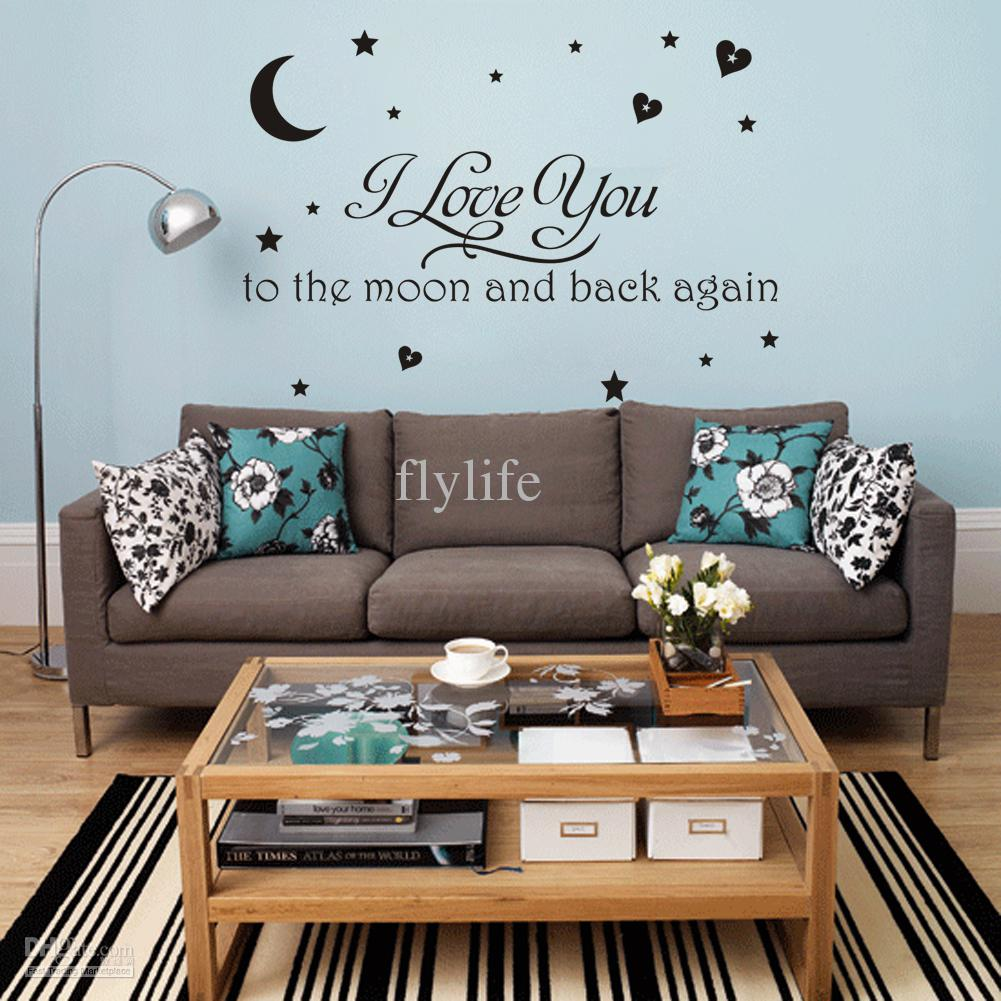I Love You Moon And Back Again Vinyl Wall Stickers Quotes Home Decor Art Decorative Decals For Kids Sticker Designs From