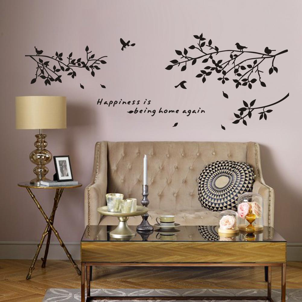 Happiness Is Being Home Again Vinyl Quotes Wall Stickers And Black Tree  Branch With Birds Art Decor Decals For Home, Living Room Wall Art Stickers  Vinyl ...