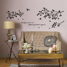 tree branch vinyl wall art 2019 - Happiness Is Being Home Again-Vinyl Quotes Wall Stickers and Black Tree Branch with Birds Art Decor Decals for Home, Liv