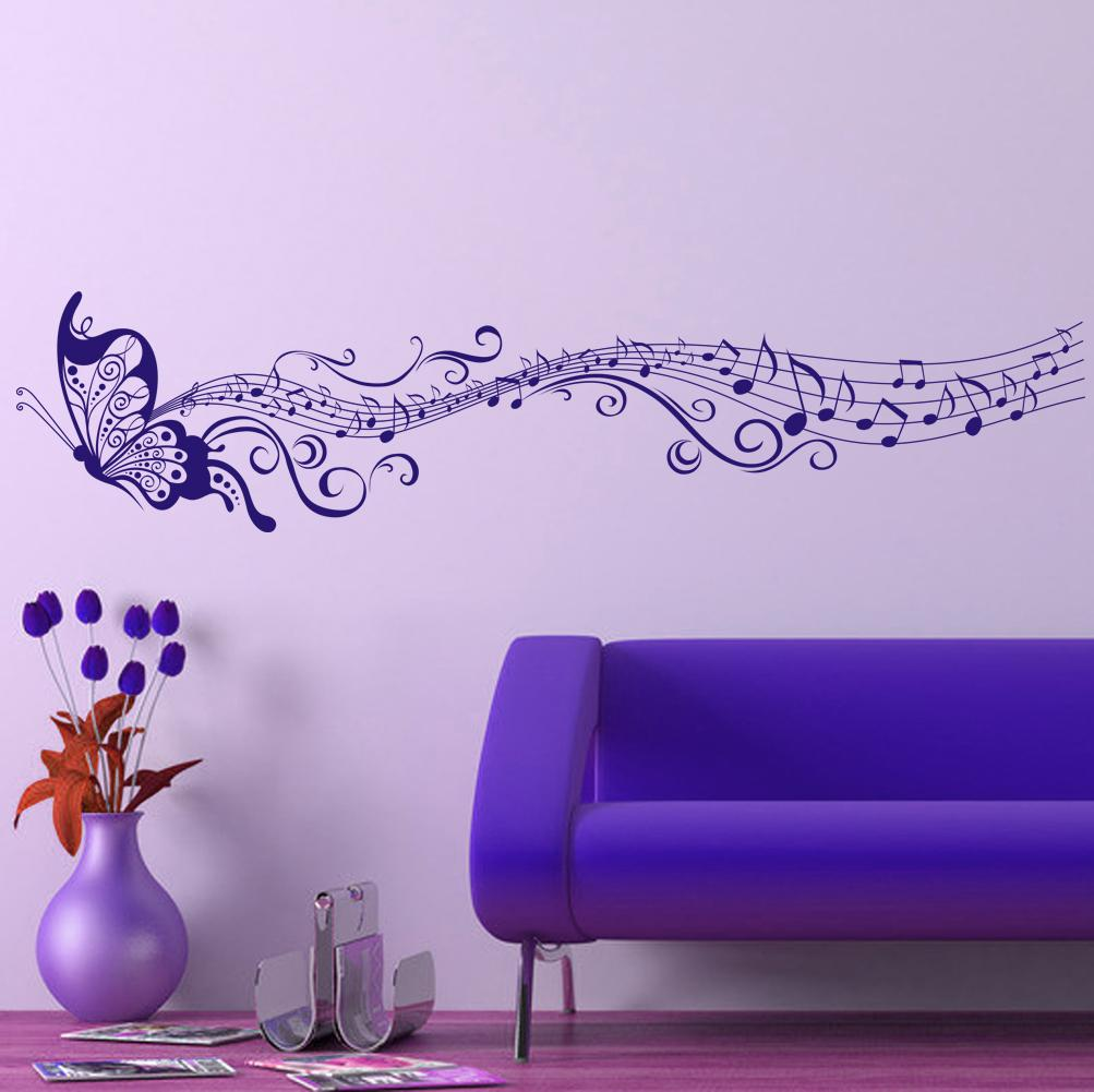 Large Singing Purple Butterfly Wall Stickers Home Decor Art ...