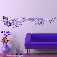Wholesale Large Purple Wall Art - Free Shipping Large Singing Purple Butterfly Wall Stickers Home Decor Art Removable Wall Decals for Living Room Bedroom Decoration