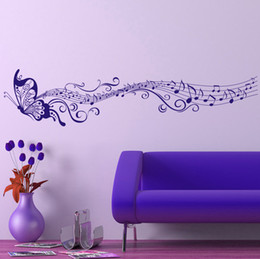 Wholesale Large Butterfly Wall Stickers - Free Shipping Large Singing Purple Butterfly Wall Stickers Home Decor Art Removable Wall Decals for Living Room Bedroom Decoration