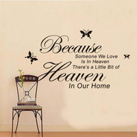 Wholesale Heaven Wall Decals - Because Someone We Love Is in Heaven Vinyl Wall Lettering Stickers Quotes and Sayings with Black Butterfly Art Decal
