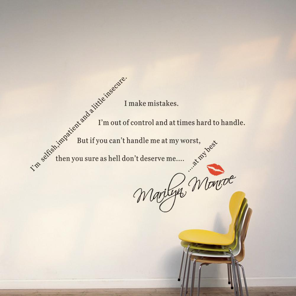 Spiritual Quotes Sayings For Lovers By Marilyn Monroe Diy Wall Lettering  Stickers Home Art Wall Decor Decals For Living Room Bedroom Wall Stickers  Uk Wall ... Part 46