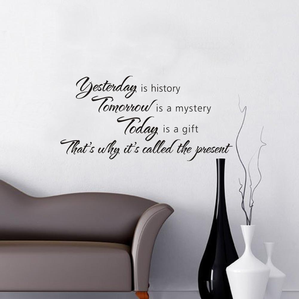 Yesterday is history tomorrow is a mystery today is a gift quotes yesterday is history tomorrow is a mystery today is a gift quotes vinyl wall stickers spiritual room decor decals amipublicfo Images