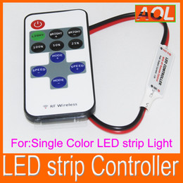 Wholesale Dimmer Remote Control - Free Shipping Single Color LED strip Controller With RF Wireless Remote Control Mini Dimmer for 5050   3528 Led Strip