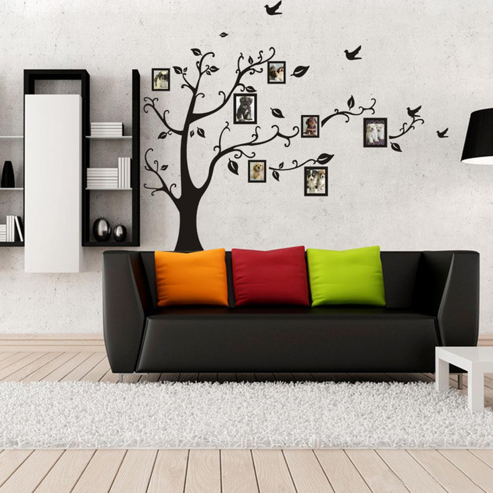 Photo frames tree with birds wall stickers large black art home photo frames tree with birds wall stickers large black art home decor wall decals for living room for kids room amipublicfo Choice Image