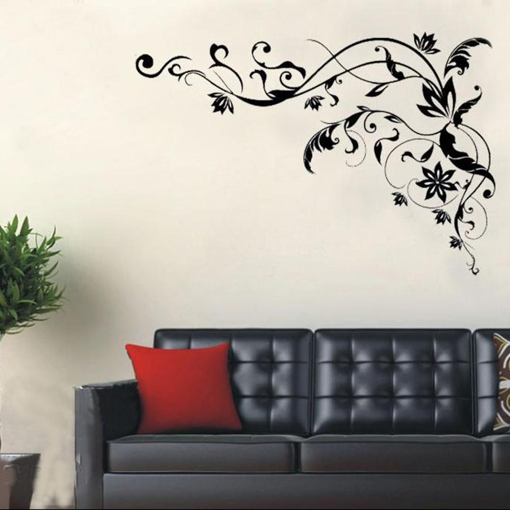 Incroyable Large Black Vine Art Wall Decals, DIY Home Wall Decor Stickers For Living  Room Room Decor Wall Stickers Vinyl Wall Stickers Flower Wall Stickers  Online With ...