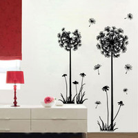 Wholesale Dandelions Sticker - Large Black Dandelion Wall Stickers, Art Room Decor Wall Decals Peel & Stick Removable Murals for Living Room, for Nursery Kids Bedroom