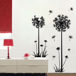 Wholesale Dandelions Wall Stickers - Large Black Dandelion Wall Stickers, Art Room Decor Wall Decals Peel & Stick Removable Murals for Living Room, for Nursery Kids Bedroom