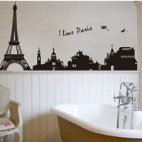Wholesale Building Murals - Eiffel Tower Building in Romantic Pairs, Large Black Art Wall Décor Stickers for Living Room, Removable Decorative Wall Decals for Bedroom