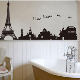 Wholesale Eiffel Tower Stickers - Eiffel Tower Building in Romantic Pairs, Large Black Art Wall Décor Stickers for Living Room, Removable Decorative Wall Decals for Bedroom