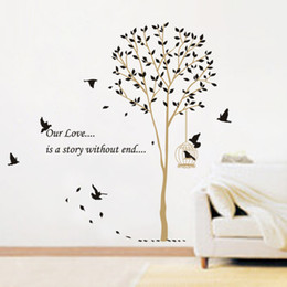 Wholesale Birds Wall Decal - Birds Nesting in Tree Nature Wall Stickers Wall Decor Decals Graphic Murals for Living Room