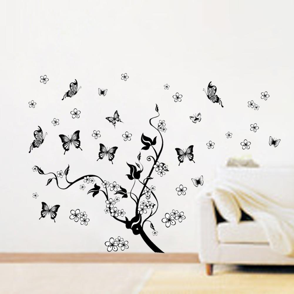 flowers and black butterflies vine decals art vinyl wall decor free shipping flowers and black butterflies vine decals art vinyl wall decor sticker for living room