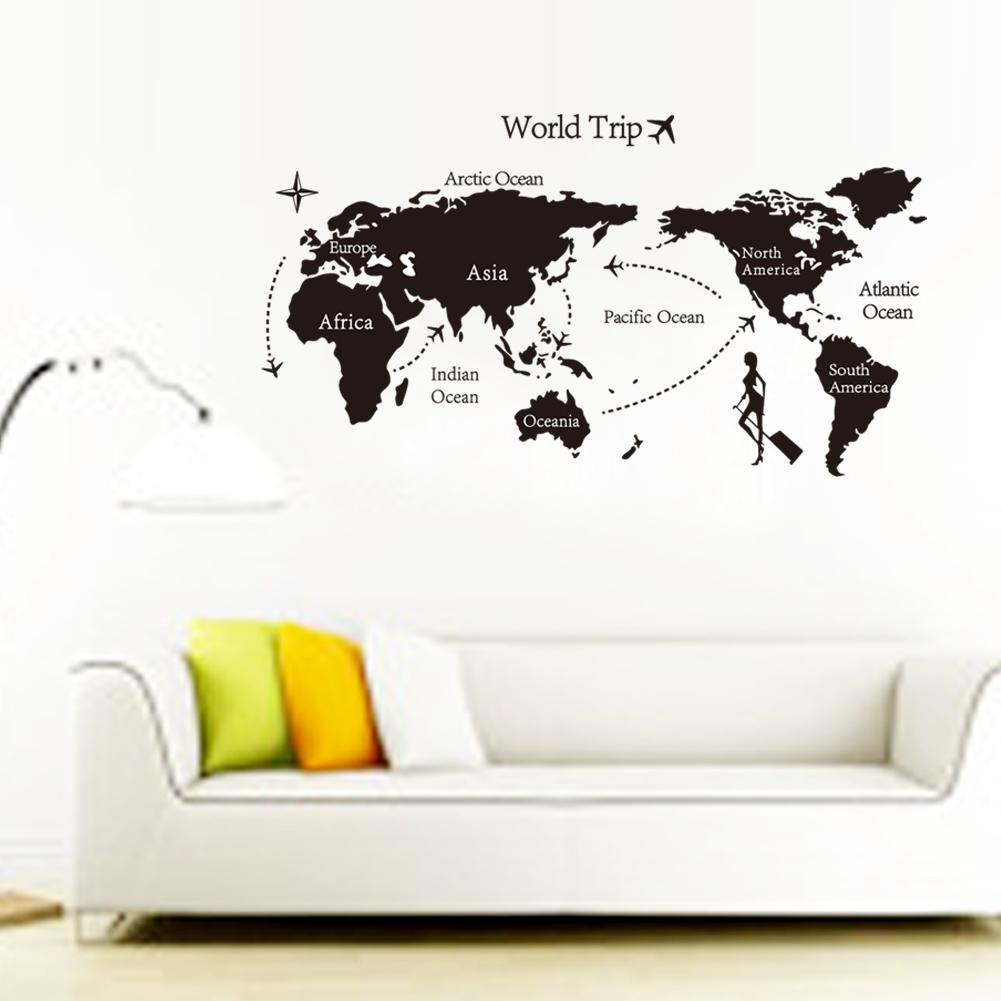 Large Black World Map Wall Decals and Decor Stickers for Living Room and Home Decoration, Mordern Vinyl Wall Murals for Bedroom