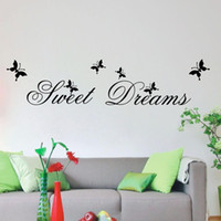 Wholesale Dancing Butterflies Sticker - Sweet Dream Lettering Sticker and Dancing Butterflies Removable Wall Quote Decal Vinyl Wall Art Sticker Decor