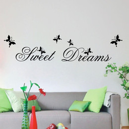 Wholesale Packaging For Sweets - Sweet Dream Lettering Sticker and Dancing Butterflies Removable Wall Quote Decal Vinyl Wall Art Sticker Decor