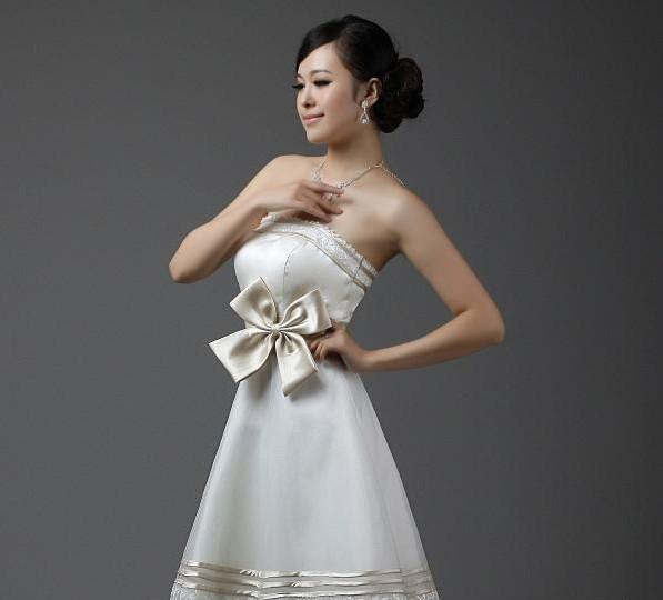 Good Quality Sexy Strapless Bow Knee Length Organza and Satin A-line Back Zipper Bridesmaid Dresses Wedding Custom Made Gowns