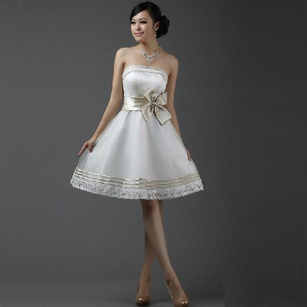 Buena calidad Sexy sin tirantes arco de la rodilla de la rodilla Organza y satinada A-Line Back cremallera Vestidos de dama de honor de la cremallera de la boda por encargo de los vestidos