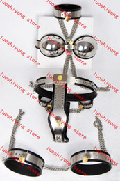 Wholesale Steel Chastity Collar - 1 set Female Adjustable T-type steel chastity belt + Thigh Cuff + Stainless steel bra + handcuffs + collar