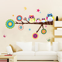Wholesale Owl Baby Wall Decal - Cute Owls Wall Decor Decals Removable Graphic Murals for Nursery Baby Room