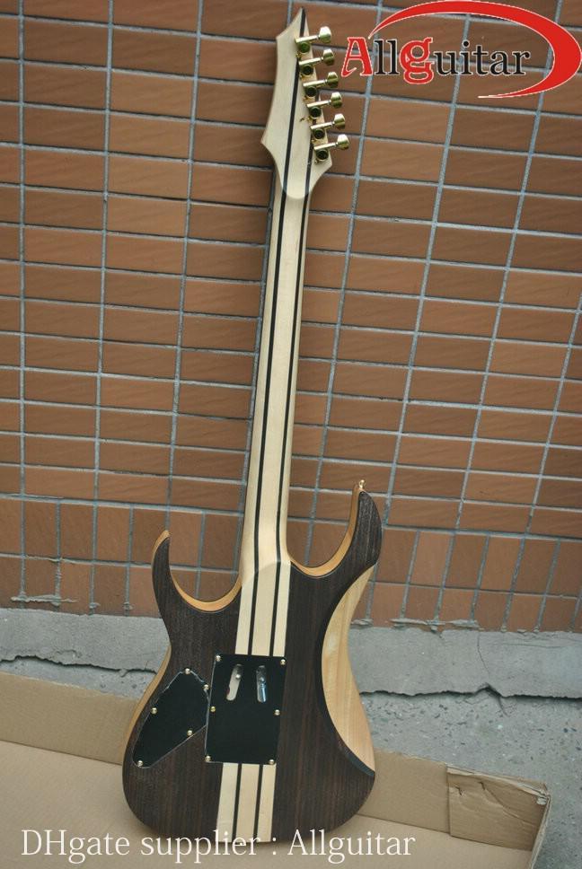Palo de rosa sólido cuello a través del cuerpo de la guitarra eléctrica del trémolo de vibrato de hardware de oro puente guitarras eléctricas chinas