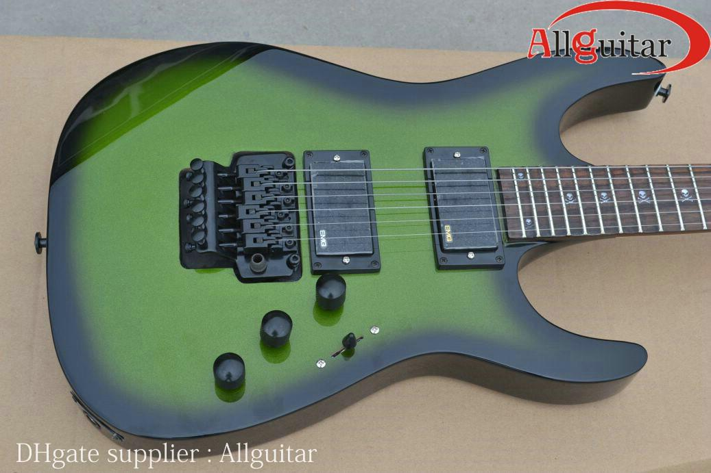 Green Black Guitar Active Pickups Hardware Floyd Tremolo Electric China And Amp Package Flying V From