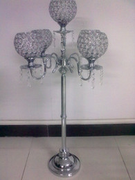 Wholesale Arms Decorations - five arms crystal candelabras for117712345 home, weeding and chrimas day decoration