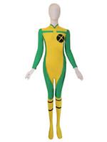 traje de spandex pícaro al por mayor-X-men Rogue Spandex Superhero Costume Disfraces de Halloween