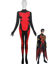 spandex robin costume UK - Halloween cospaly mixed colors Red Robin Tim Drake Spandex Superhero Costume zentai lycra tights activities Costumes