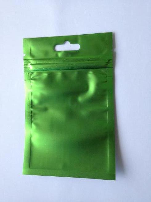 Clear+green Aluminizing Foil Zipper Plastic bag with butterfly hole self sealing Plastic bag
